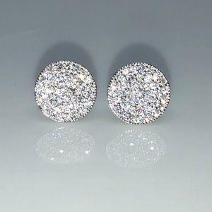 925 Sterling Silver AAA Pave CZ 10mm Earrings